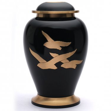 Large Going Home Black Adult Urn for Human Ashes, Brass Memorial Cremation Urns