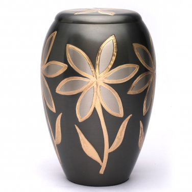 Large Majestic Lilies Brass Adult Memorial Urn, Cremation Urn for Ashes USA