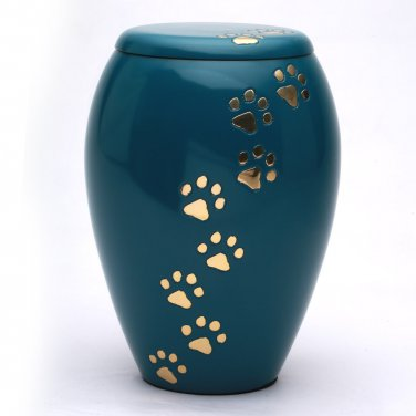 Monarch Blue Paw Print Memorial Urn for Pet Ashes