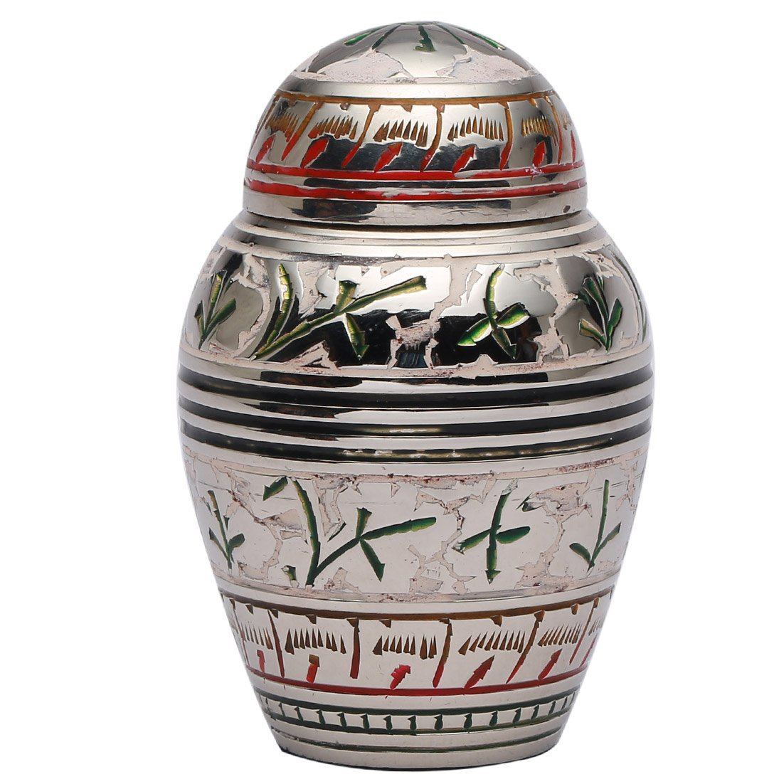 Small Urns for Human Ashes, Silver & White Floral Memorial Keepsake Cremation Urn