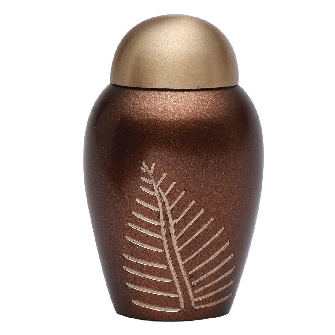 Mini Bronze Leaf Imprint Brass Funeral Keepsake Urn, Cremation Urn for Human Ashes