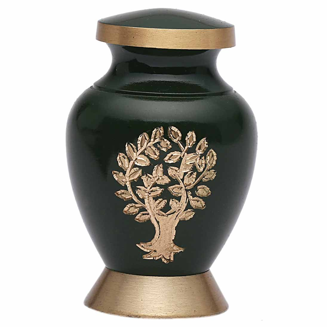 Aria Tree of Life Small Keepsake Urn for Human Ashes, Brass Memorial Urn USA