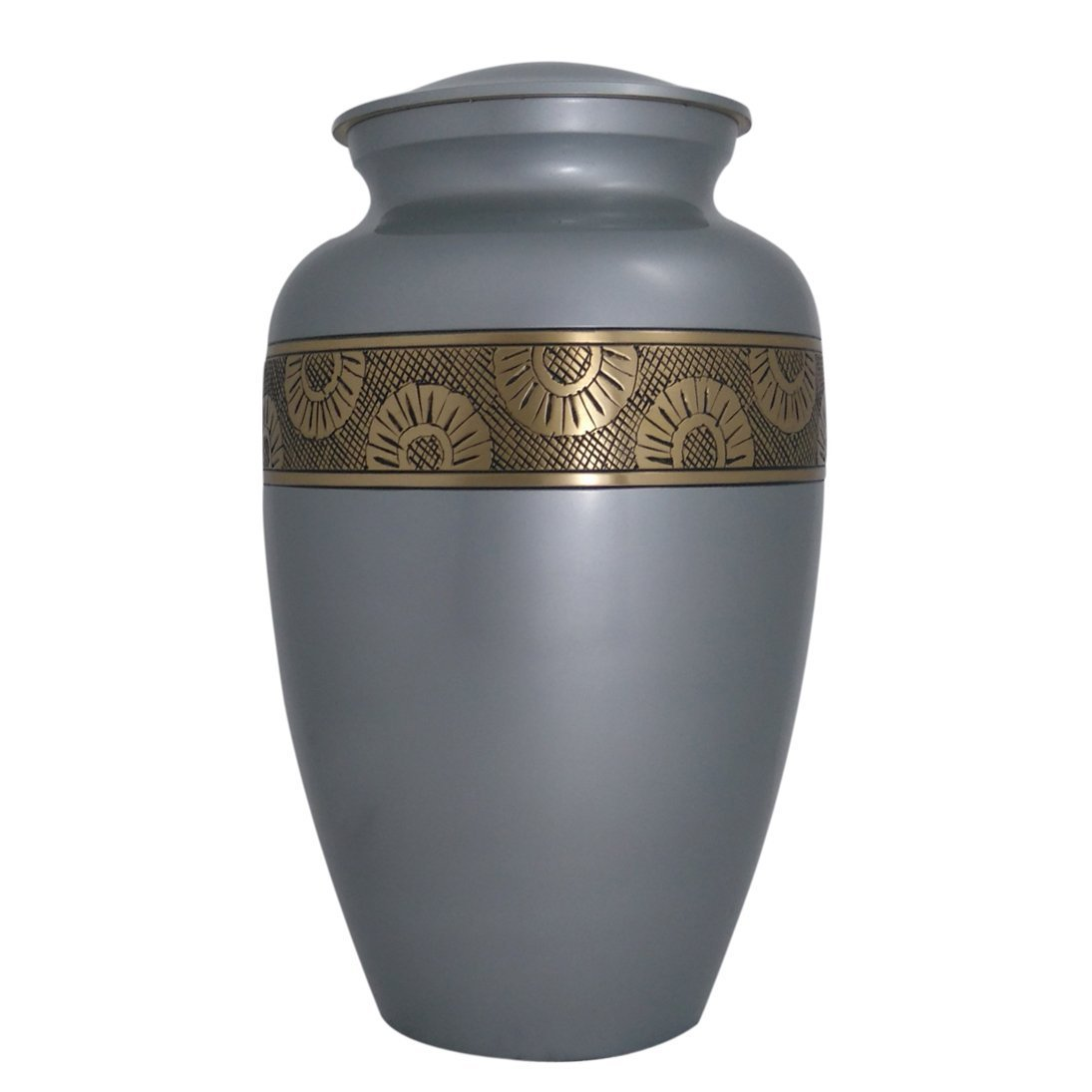 Large Urn for Funeral, Silver Blue Adult Brass Cremation Urn