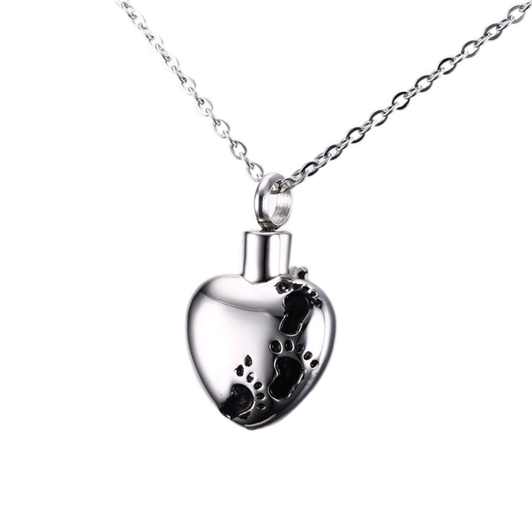 Stainless Steel Heart Shape Child Cremation Memorial Keepsake Urn Pendant Necklace
