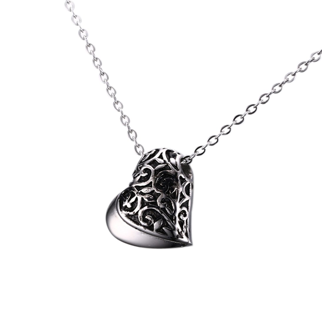 Perfect Memorial Heart Shape Cremation Keepsake Necklace Urn, Stainless Steel Memorial Jewelry