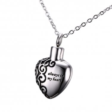 Heart Shape Cremation Jewelry - 'Always In My Heart' Keepsake Memorial Necklace
