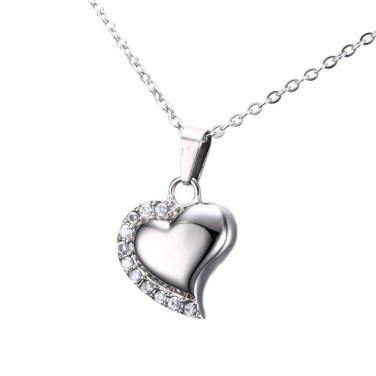 Only Love Heart Shape Memorial Keepsake Necklace, Cremation Jewelry Pendant Urn