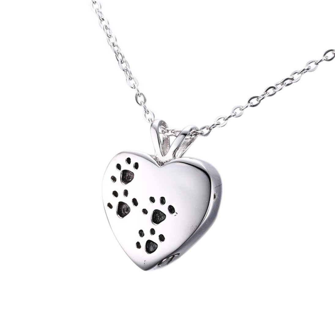 Memorable Paws on Heart Shape Pendant Urn for Ashes, Cremation Keepsake Jewelry Necklace