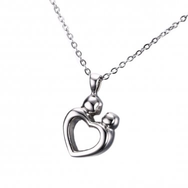 Mother Child Cremation Urn for Memorial Ashes, Stainless Steel Keepsake Pendant Jewelry
