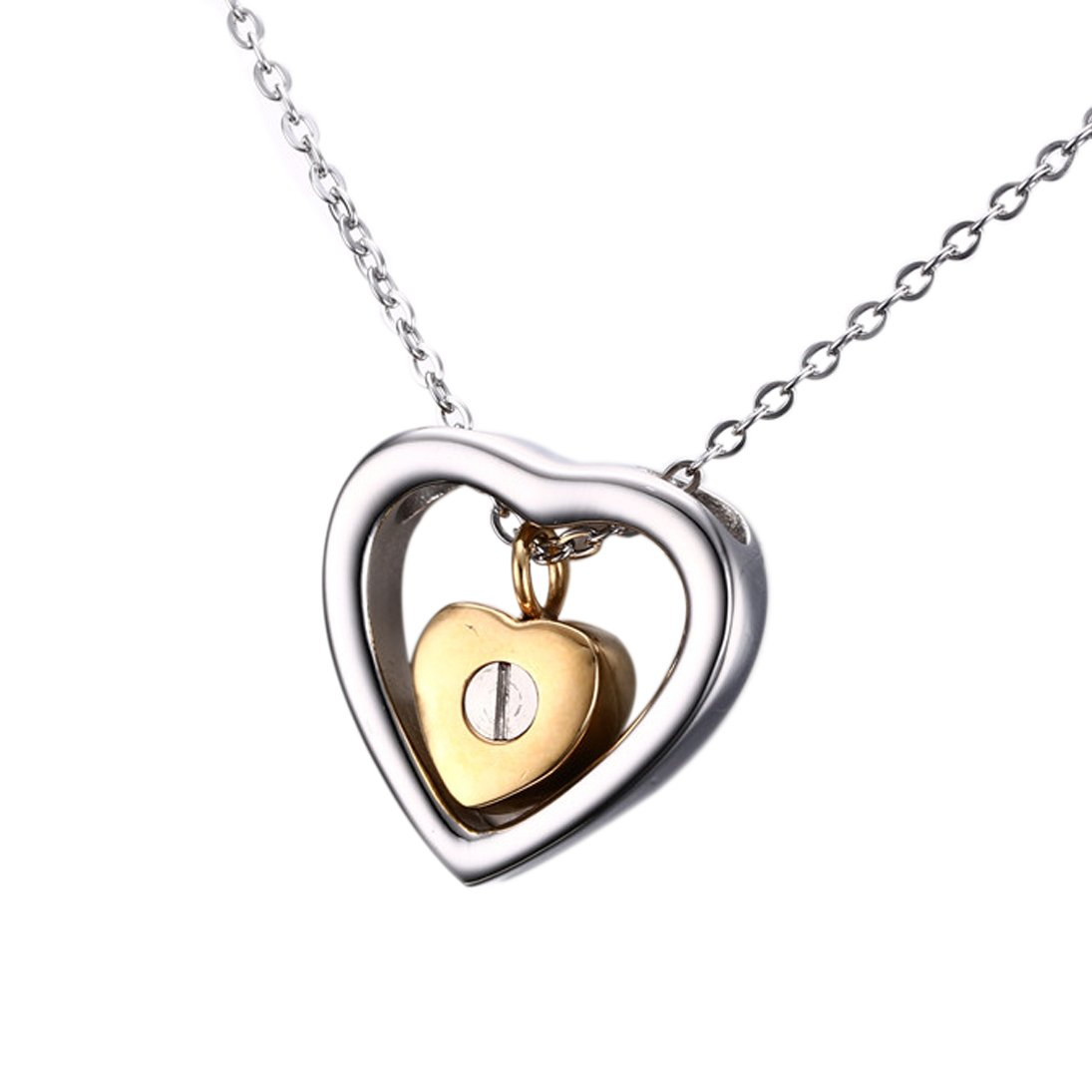 Two Hearts Cremation Urn Necklace, Stainless Steel Jewelry Keepsake Pendant for Ashes