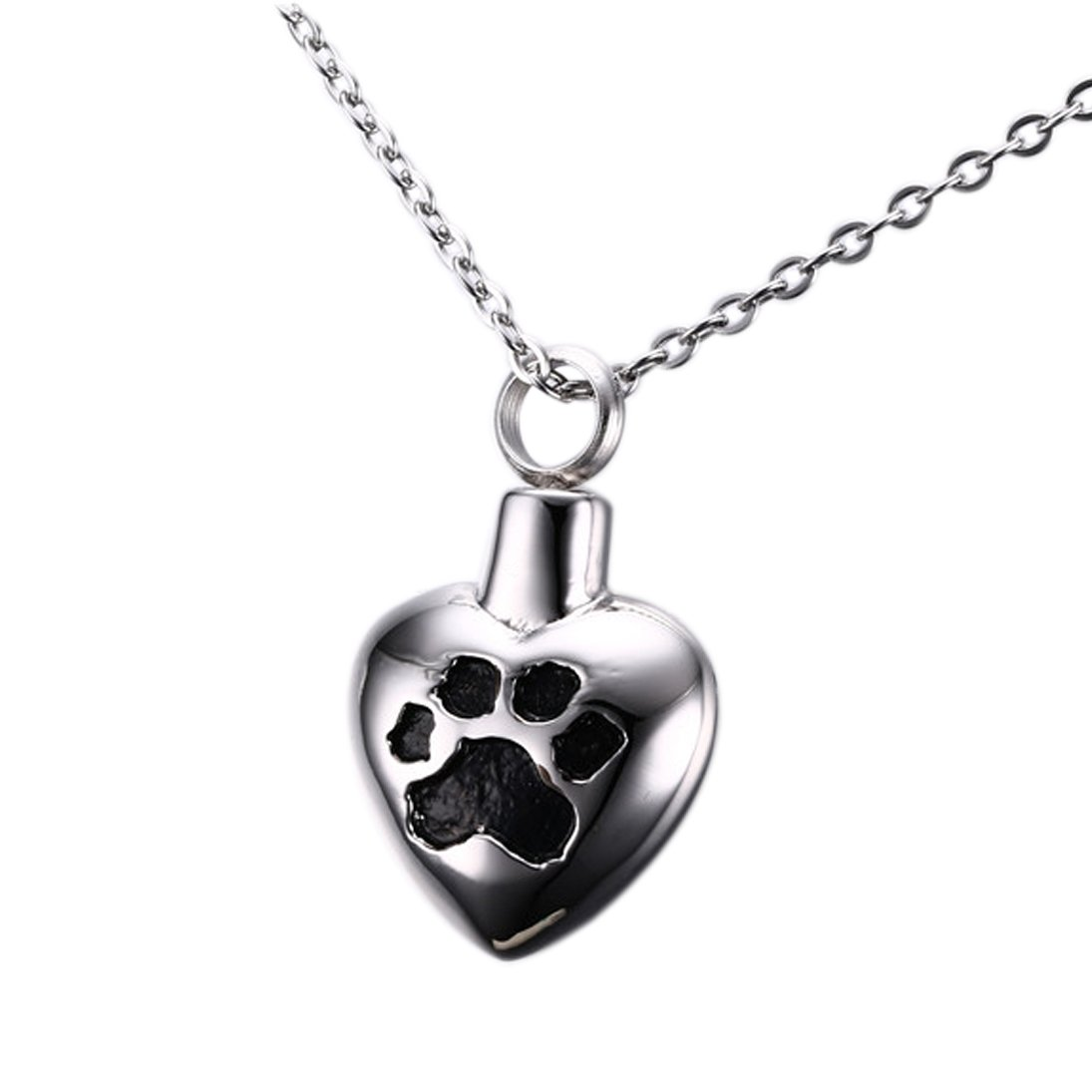 Stainless Steel Black Paw Print Heart Shape Cremation
