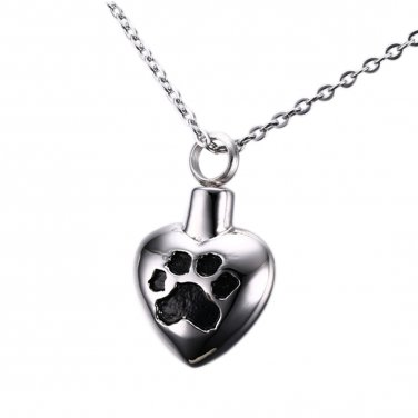 Stainless Steel Black Paw Print Heart Shape Cremation Keepsake Urn Pendant Necklace