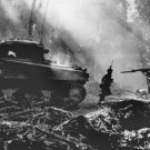 New 5x7 World War II Photo: U.S. Infantrymen Cover Tanks Moving in Bougainville