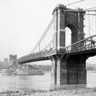 New 5x7 Photo: John Roebling Suspension Bridge in Cincinnati, Ohio