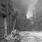 New 5x7 World War II Photo: German Woman Runs from Burning City, Seigburg