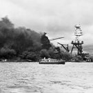 New 5x7 World War II Photo: USS ARIZONA on Fire at Pearl Harbor, 1941