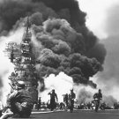 New 5x7 World War II Photo: Attack of the USS BUNKER HILL, Hit by Two Kamikazes