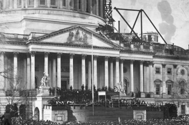 New 5x7 Civil War Photo: 1st Inauguration of Abraham Lincoln, Unfinished Capitol