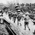 New 5x7 World War II Photo: American Troops Marching thru the Siegfried Line