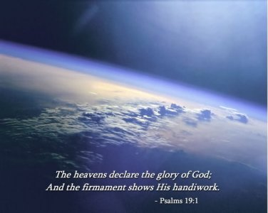 New 8x10 Photo: Earth from Space with Psalms 19:1 Bible Scripture Quote