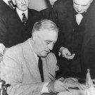 New 5x7 World War II Photo: Franklin Roosevelt Signs War Declaration for Germany