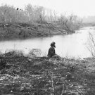 New 5x7 Civil War Photo: Soldier sitting by Chickasaw Bayou, Mississippi 1864
