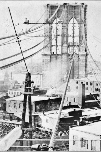 New 5x7 Photo: Construction of Brooklyn Bridge, New York City