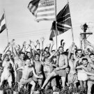 New 5x7 World War II Photo: Allied POWs in Japan Cheer Rescue Ships, Aomori Camp