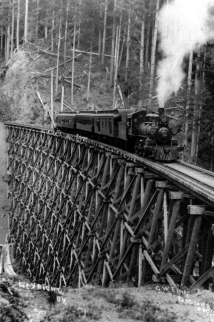 New 5x7 Photo: Steam Engine on Trestle Bridge, 1913
