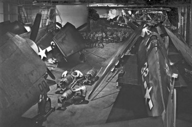 New 5x7 World War II Photo: F6Fs and Men in Hangar Deck of USS YORKTOWN