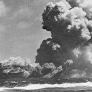 New 5x7 World War II Photo: Carrier USS WASP Burning after Torpedo Strikes