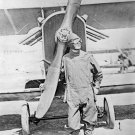 New 5x7 World War I Photo: American Fighter Pilot Standing by Army Airplane