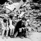 New 5x7 World War II Photo: Children Left Homeless by London Raid, 1940