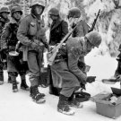 New 5x7 World War II Photo: 347th Regiment Infantrymen in Chow Line, Belgium