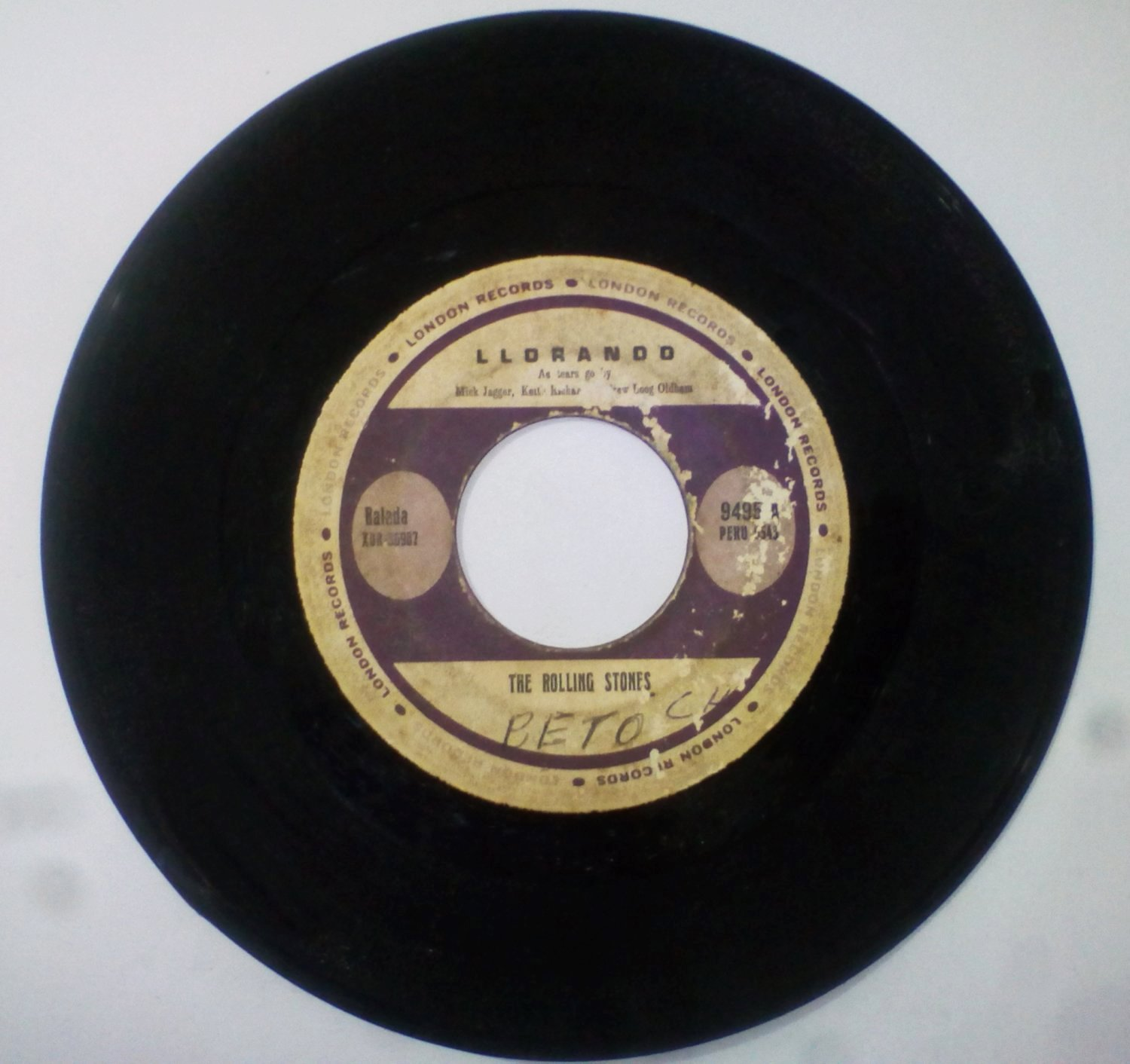 THE ROLLING STONES -AS TEARS GO BY / LLORANDO- 7'' RARE PERU EDIT