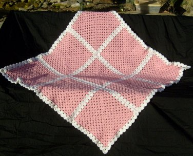 Pink and white blanket