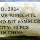 "NEW Lot of 10 #2 PHX 1/4"" FL DBL-END BIT 65mm CR-V650 #2924"