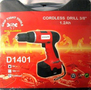 "Grip Tight Tools Cordless 3/8"" Drill 1.2Ah #D1401"