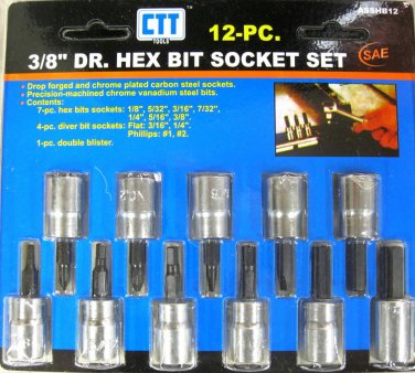 "New Cal-Hawk 12-Pc.  3/8"" Dr. Hex Bit Socket Set SAE  # ASSHB12"