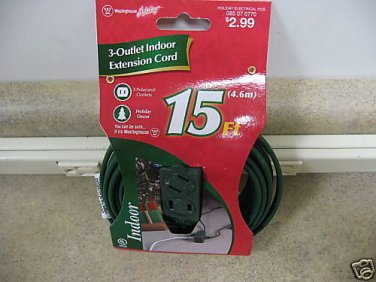 New 15' Westinghouse 3-Outlet Indoor Extension Cord