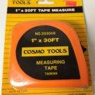 "New Cosmo Tools 1"" X 30 Ft Tape Measure/Orange Color"