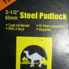 "New Tufflock 2-1/2"" 65mm Steel Padlock #LKHPD-65SB"