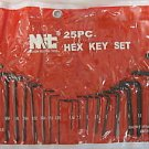 New MIT 25-Pc. Long/Short Arm Hex Key Wrenchs SAE & MM #2512