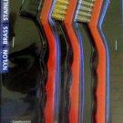 New MIT 3-Pc. Mini Wire Brush Set Nylon, Brass, Stainless #7064