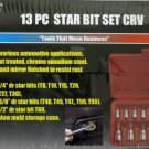 New Grip Tools 13-Pc. Star Bit Set CRV # 71107