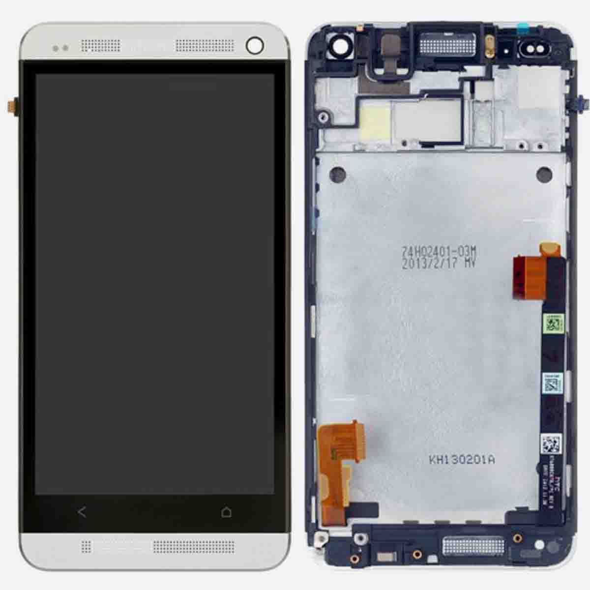 HTC One M7 Front Housing LCD Touch Glass Digitizer Screen Frame Assembly.