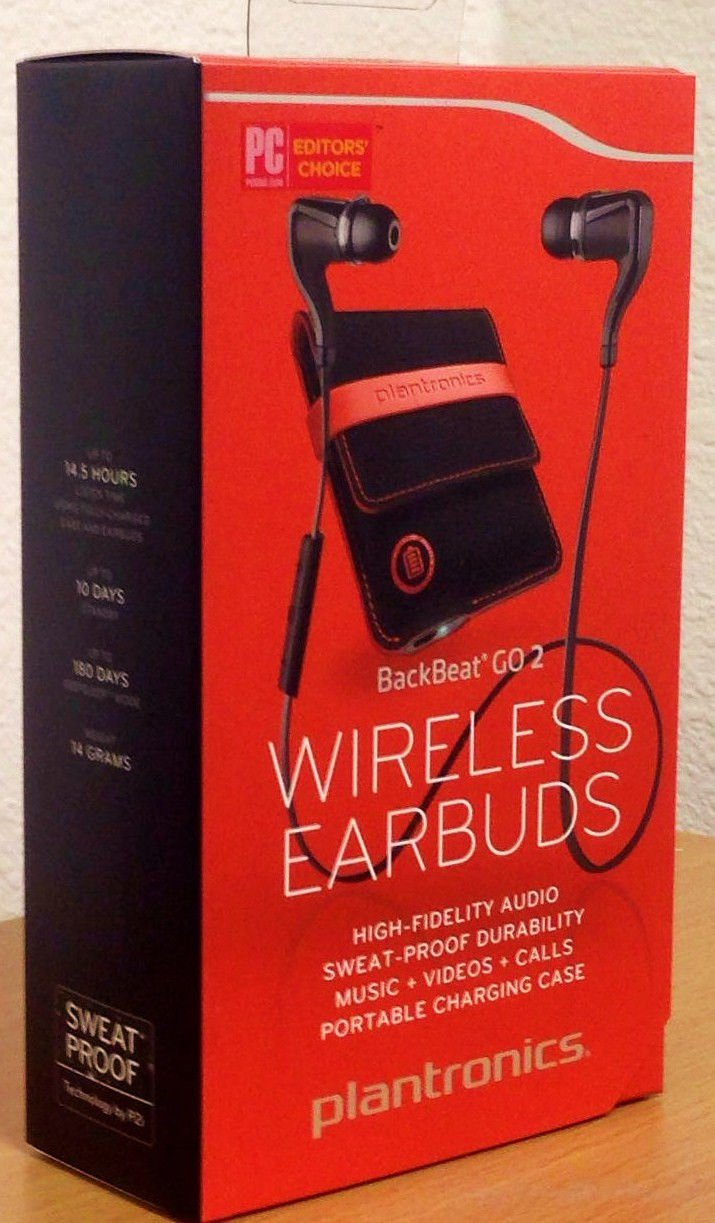 New OEM Plantronics BackBeat GO 2 Wireless Bluetooth Stereo Earbuds BLACK+ Charging Case