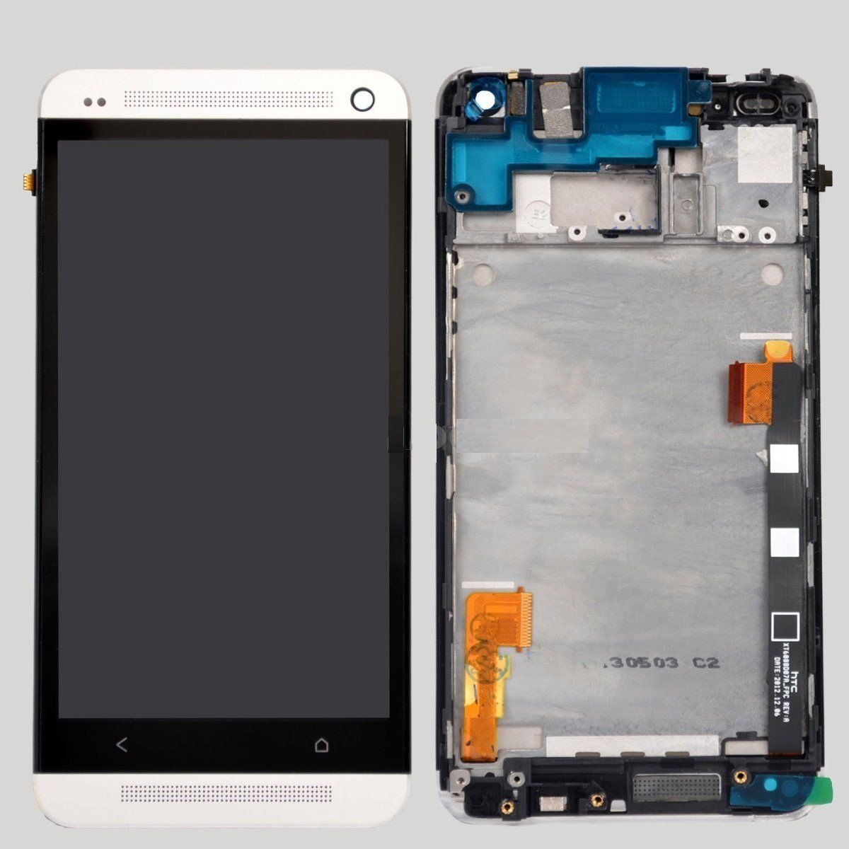 HTC One M7 LCD Display Touch Screen Digitizer + Frame Assembly Silver OEM