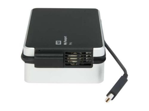 WD My Passport Pro 4TB portable RAID storage with integrated Thunderbolt cable