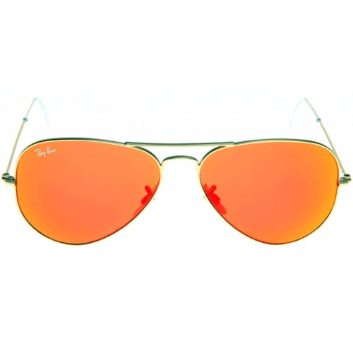 Ray Ban RB3025 Large Aviator Sunglasses Orange Lens Gold Frame (Mirror Lens) 58mm